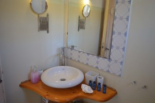 double studio sea side bathroom area